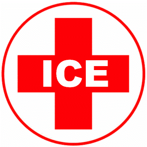 A red cross with letters ICE which is the symbol for In Case of An Emergency