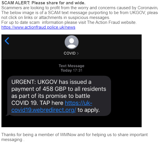 Text scam says Urgent UKGovv has issueda payment of 458 GBP to all as part of its promise to battle covid-19. You are then asked to Tap a https link to apply