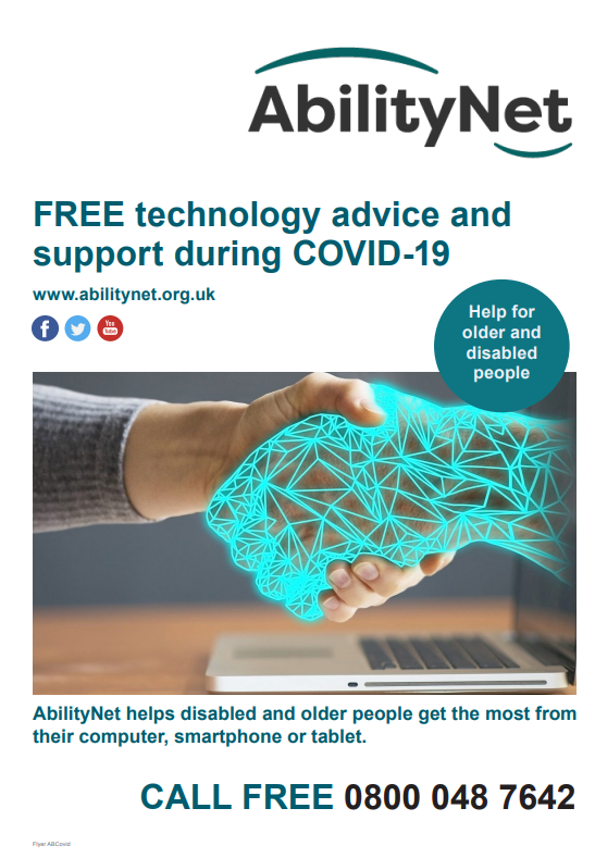 Free technical support during Covid from AbilityNet. 08000487642